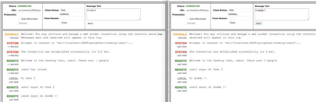 chat between two users WebSockets