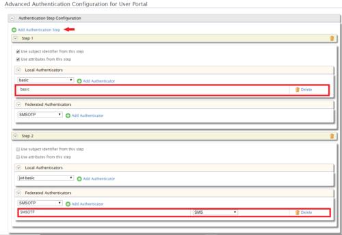 Advanced Authentication Configuration for User Portal