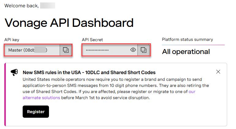Vonage API Dashboard